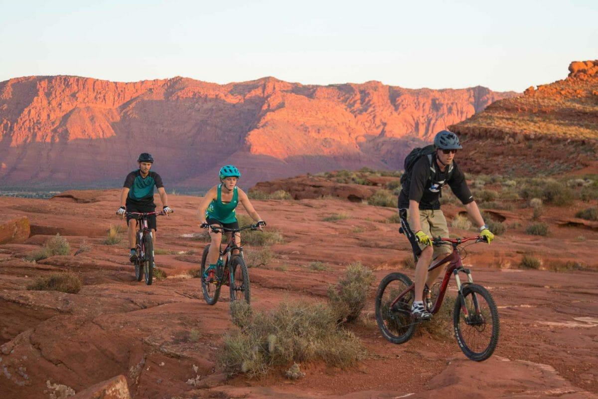 Trio of mountain bikers.