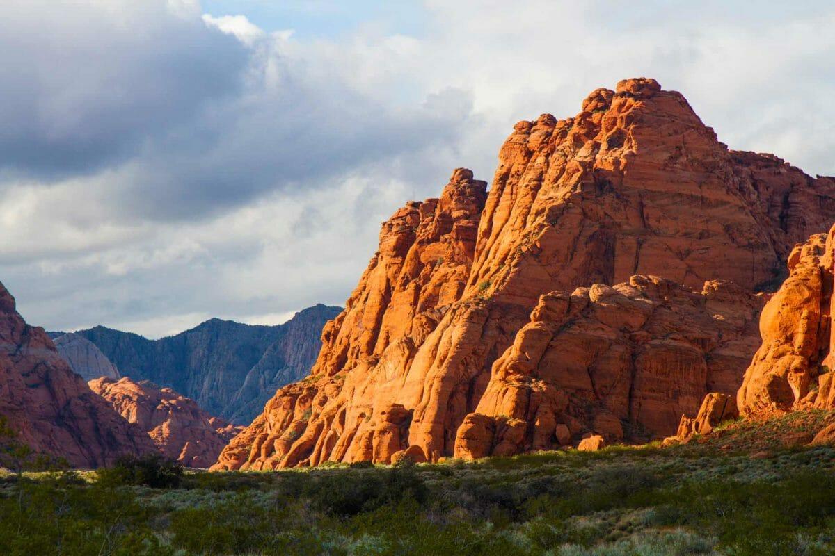 Jagged, red rock cliffs.
