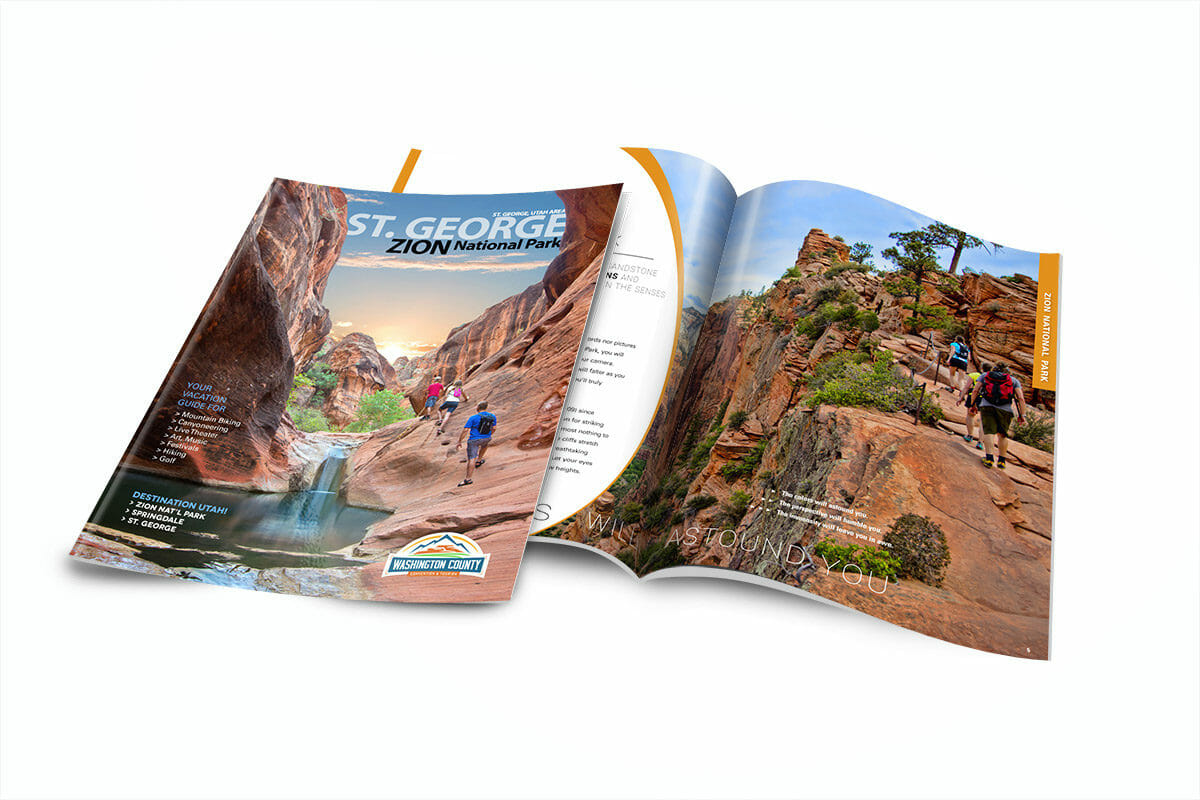 Vacation planner magazine opened to page about hiking in Zion National Park