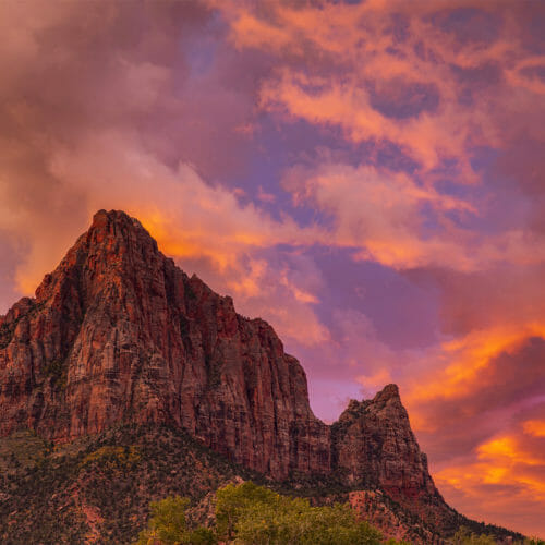 Sun setting over the Watchman in Zion National Park