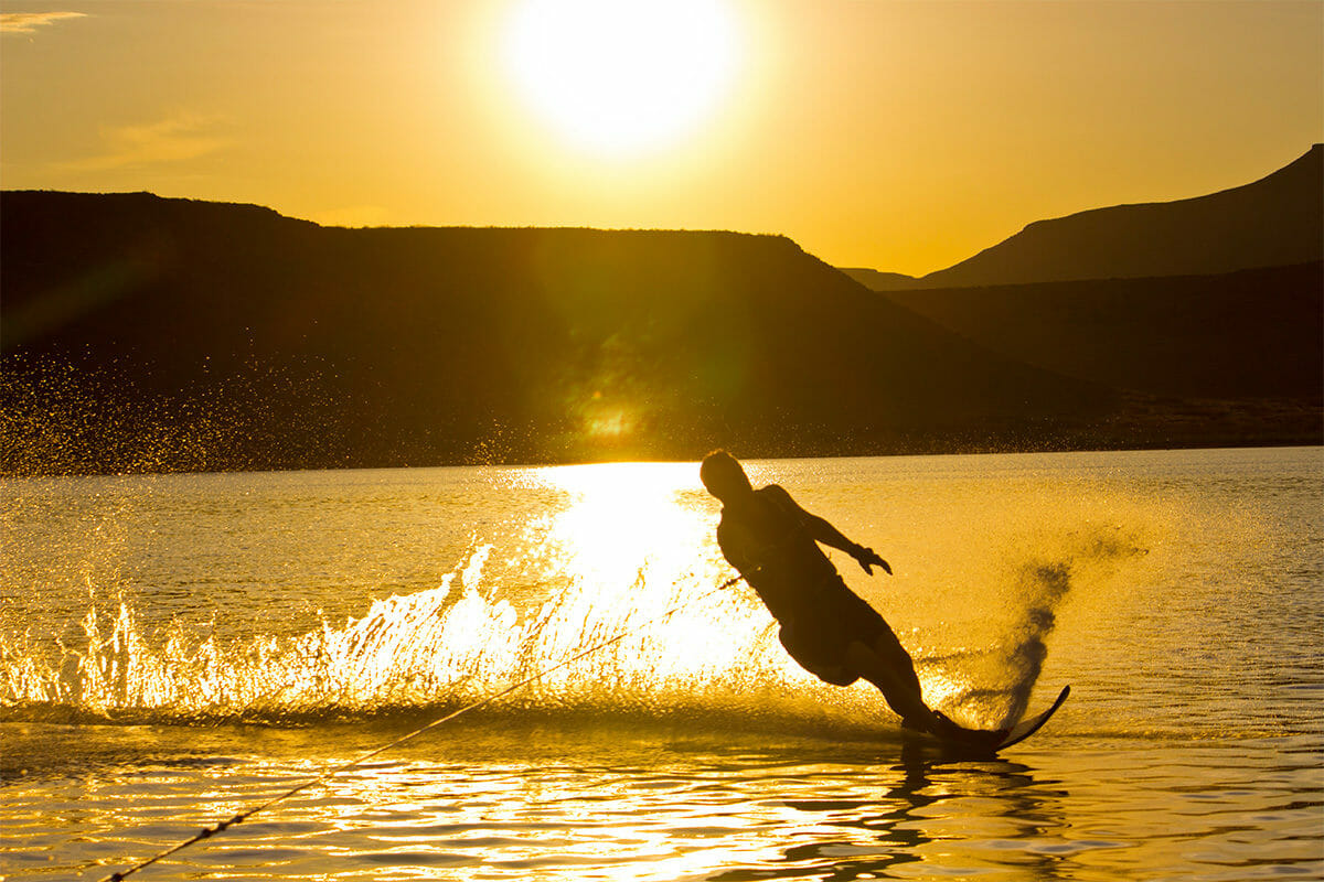 Silhouette of Wakeboarder at Sand Hollow Sunset