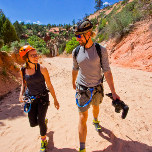 Couple canyoneering