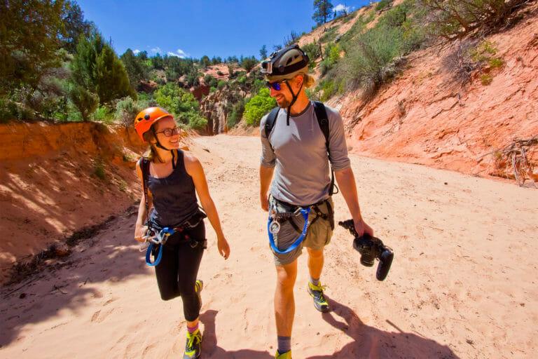 Couple canyoneering