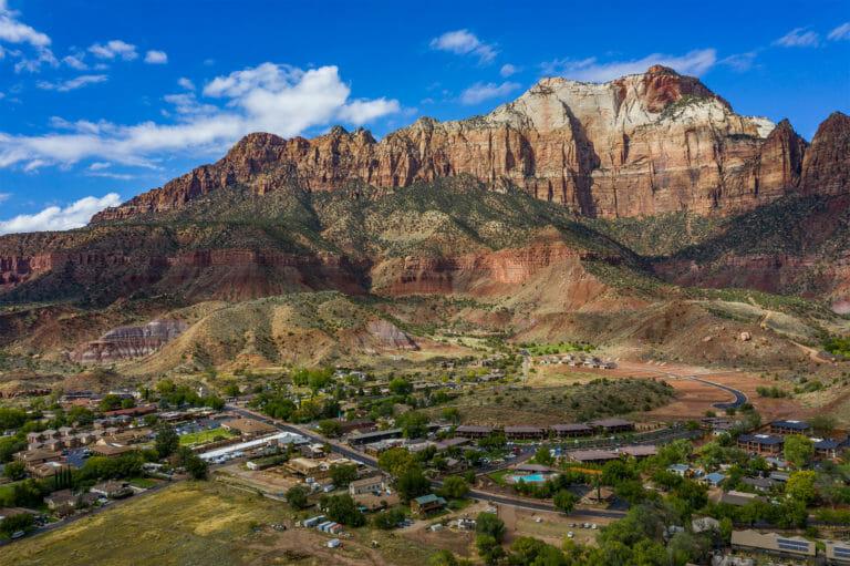 Aerial view of the town of Springdale, Utah