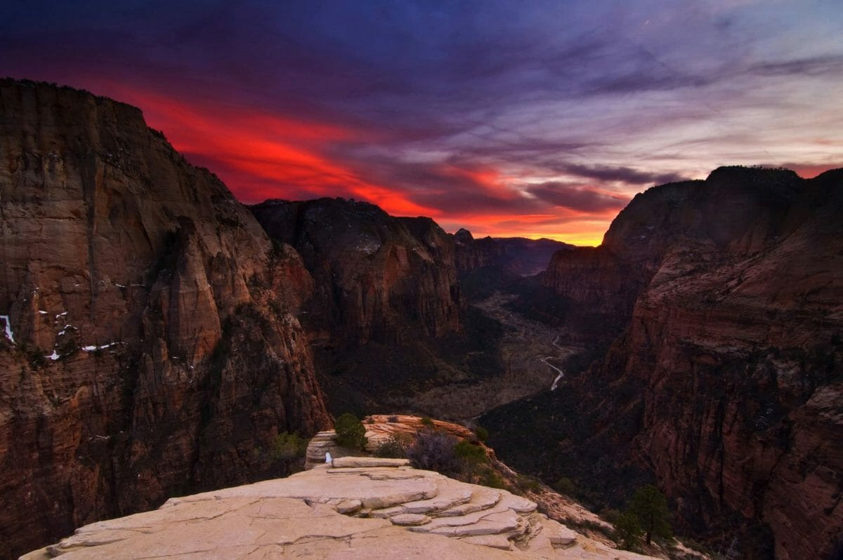 Sunset over canyon