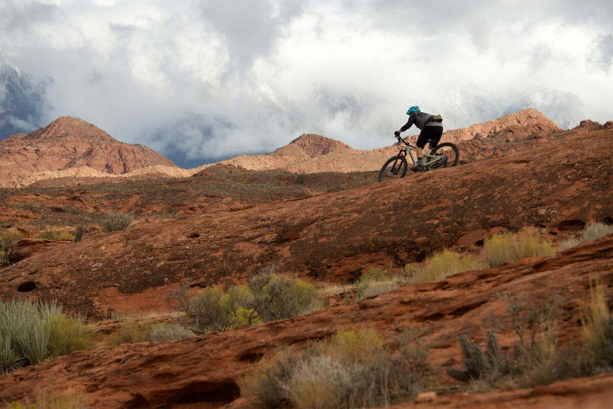 Mountain biker on red rocks