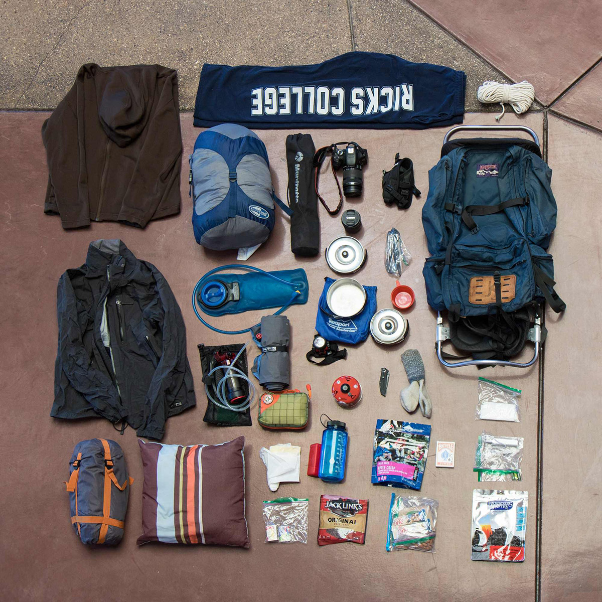 Backpacking gear arrayed for display