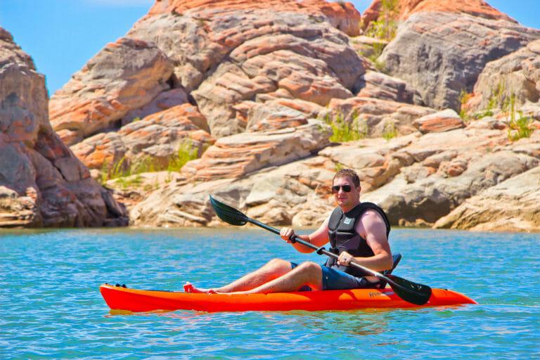 Man kayaking at Gunlock State Park