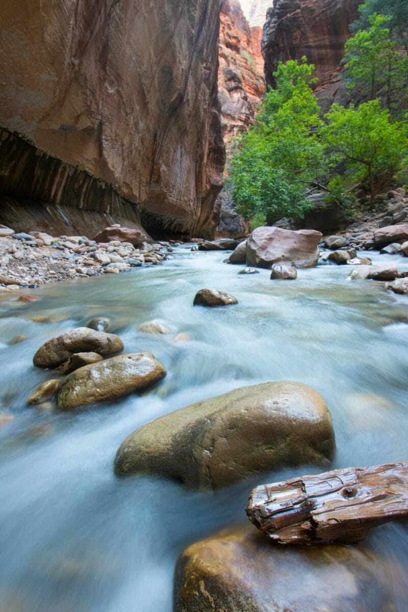 Fast-flowing water in a canyon.