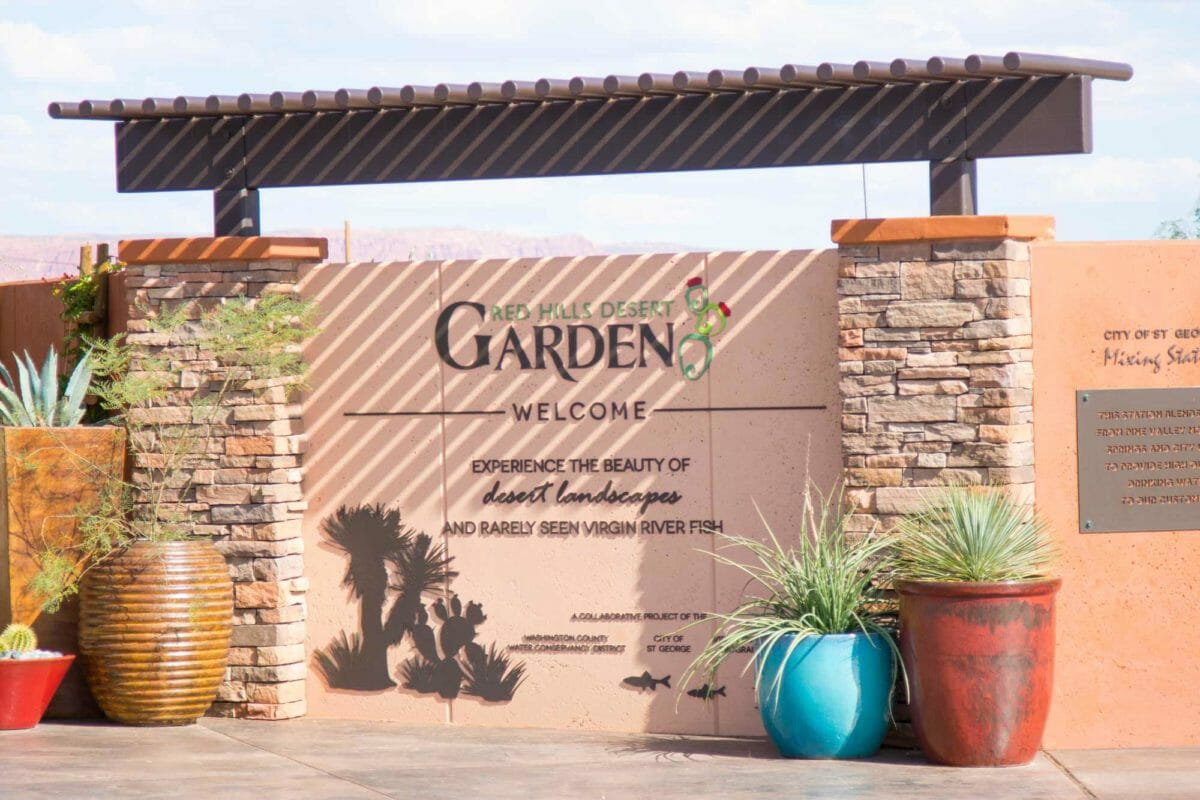 Entrance sign reading Red Hills Desert Garden