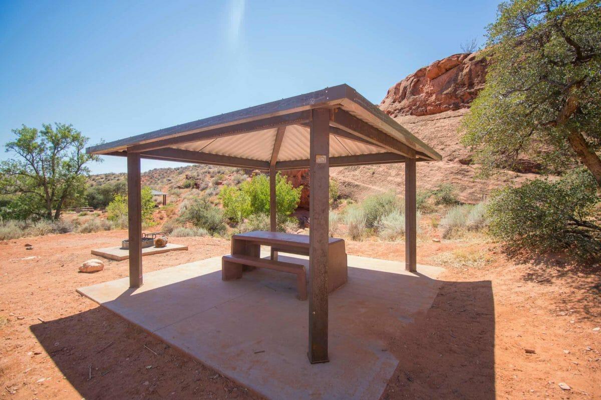 Campsite pavilion in the desert.