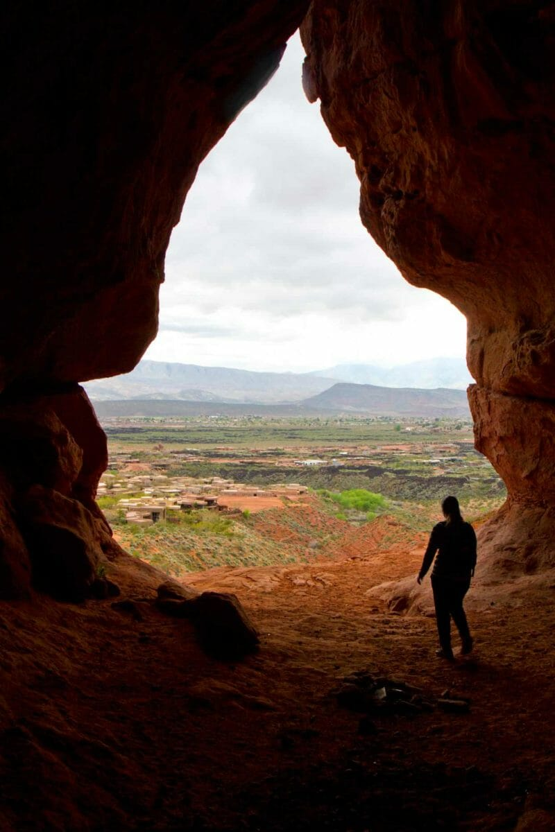 View from the inside of a cave looking out.s