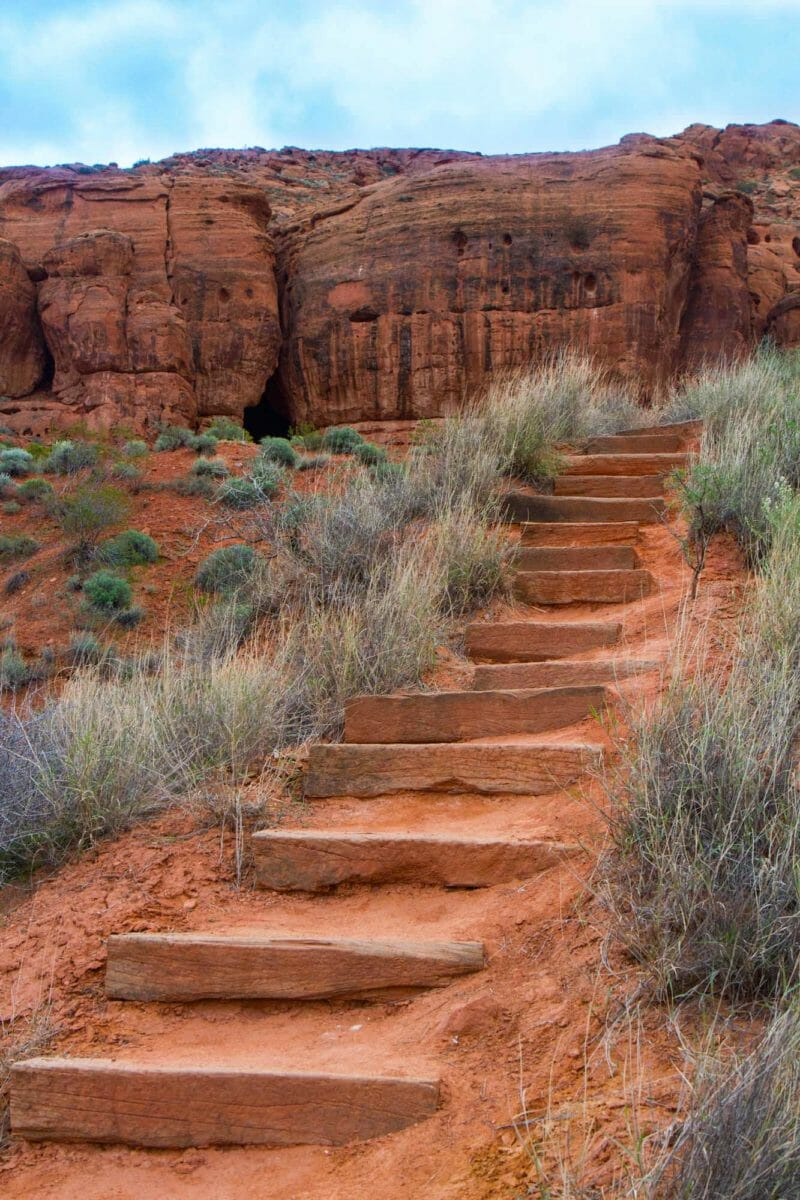 Stairs leading up the mountain side.