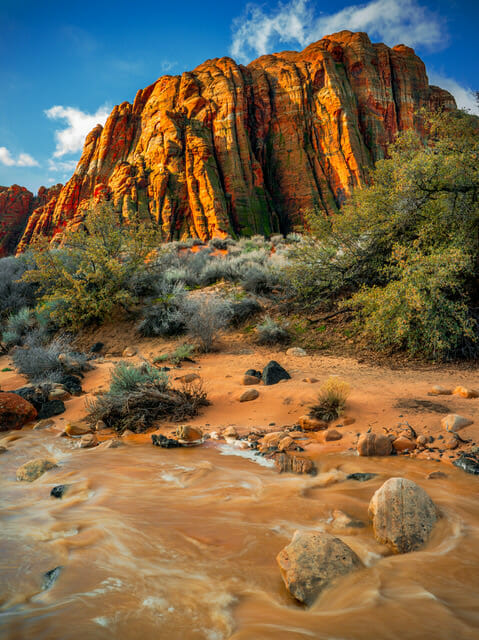 Water flowing below large red cliffs. Photo Credit: Nathan Wotkyns