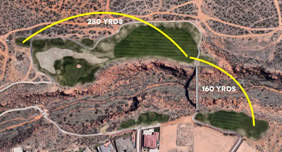 Aerial view of golf course with yellow lines drawn from tee to fairway to green.