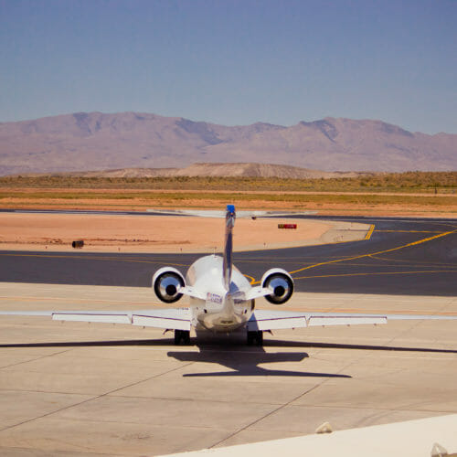 Jet on the runway at St. George Municipal Airport