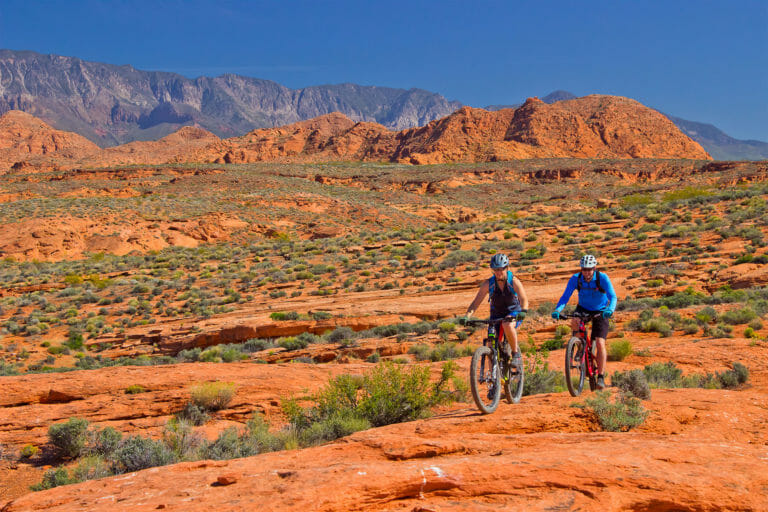 Couple mountain biking in the Red Desert National Conservation Area
