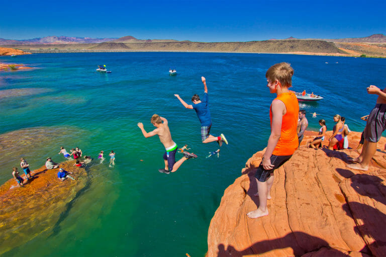 Kids cliff jumping at Sand Hollow State Park