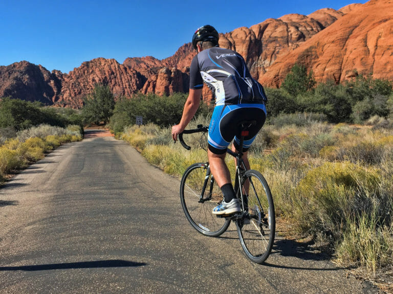 Man cycling in Snow Canyon State Park