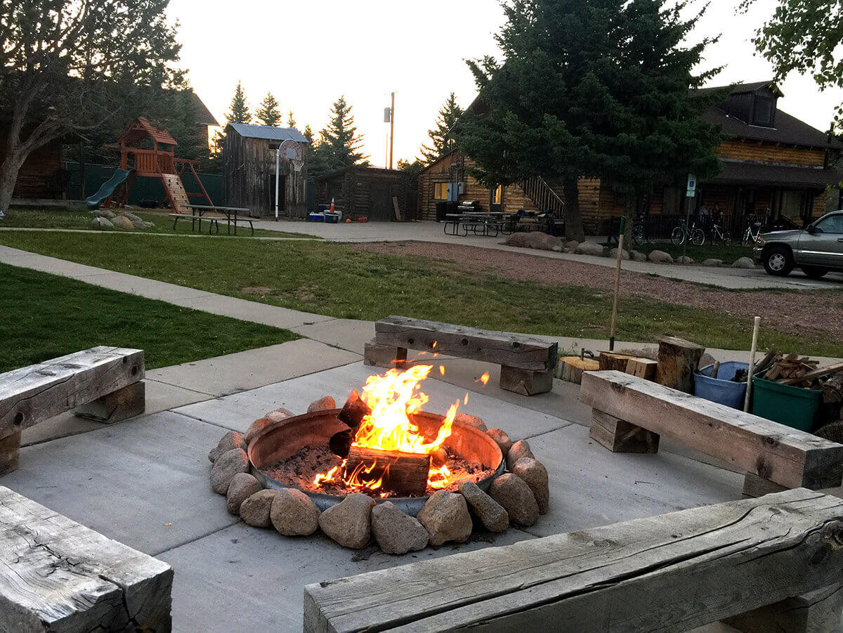 Firepit at mountain lodge