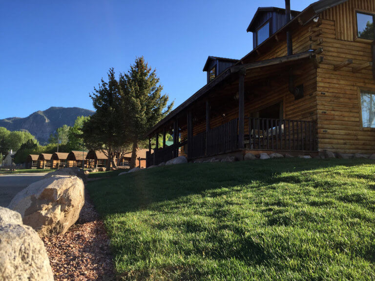 View of mountain lodge and rental cabins