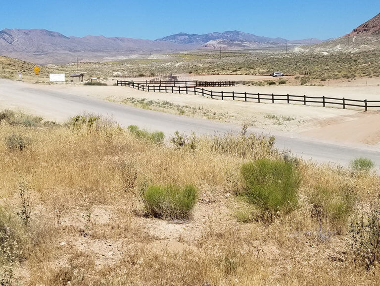 Parking lot for desert trail