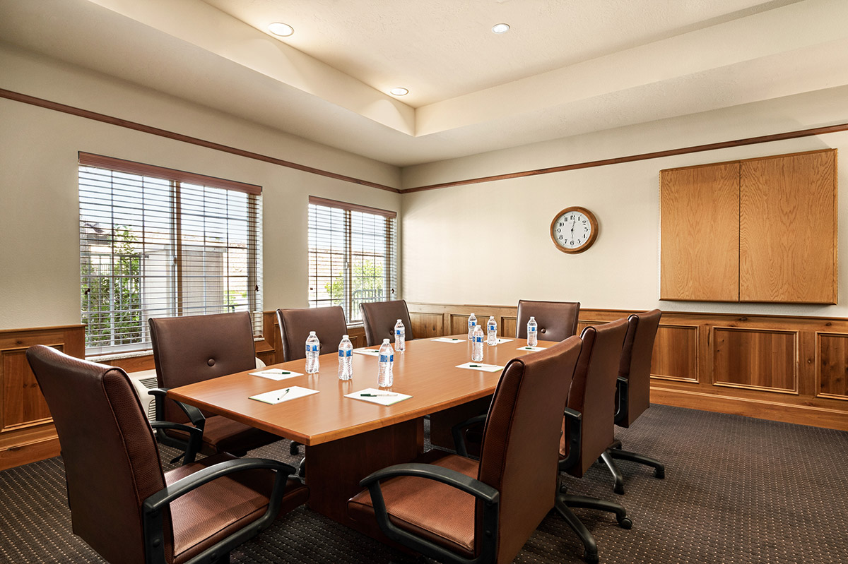 Hotel boardroom with leather chairs