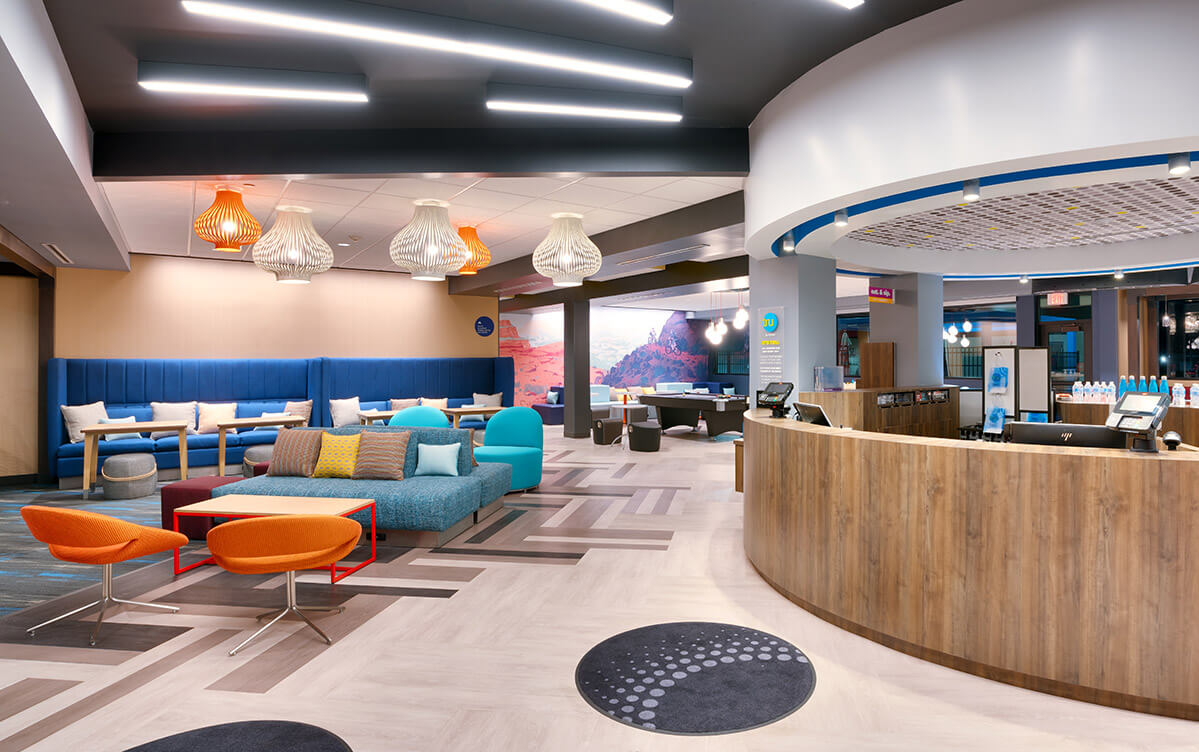 Modern hotel lobby with bright colors