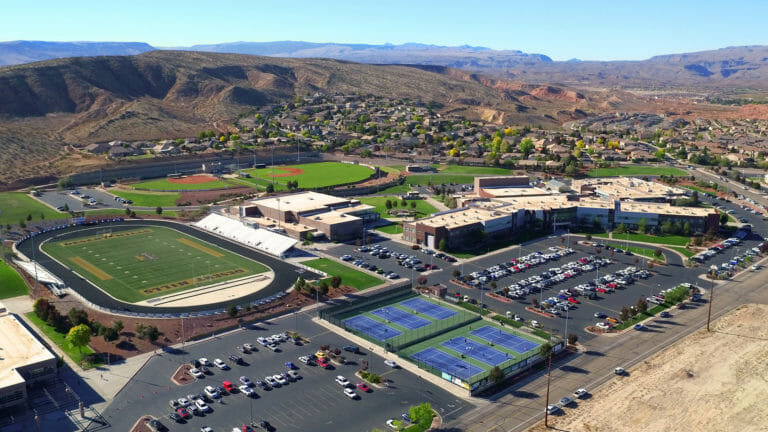 Aerial view of high school sports complex