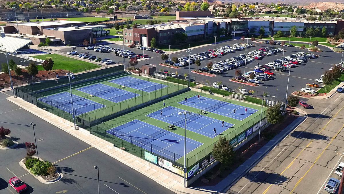 Aerial view of school tennis courts