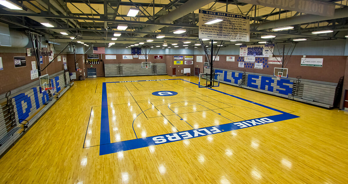 View of indoor basketball court