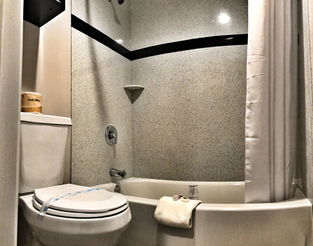 Hotel bathroom with shower and toilet