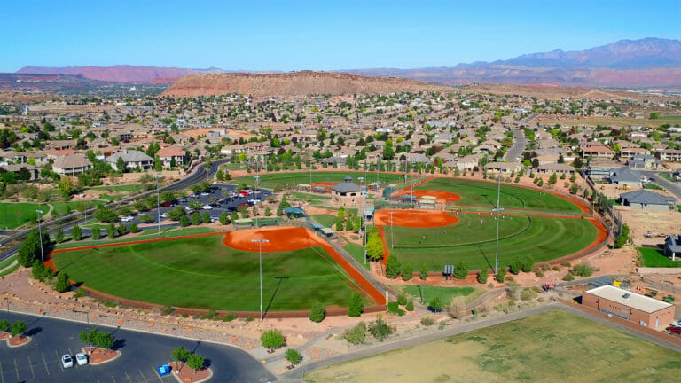 Aerial view of complex of four baseball fields