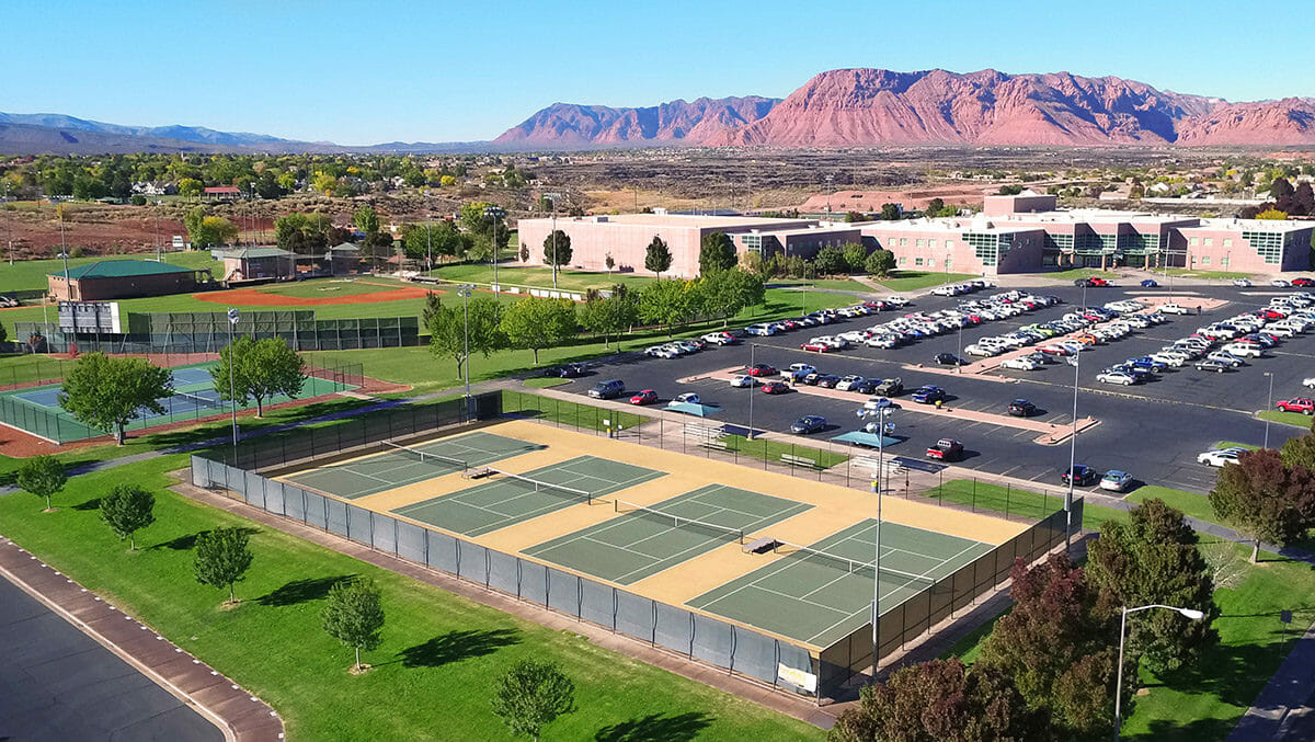 Aerial view of outdoor tennis courts