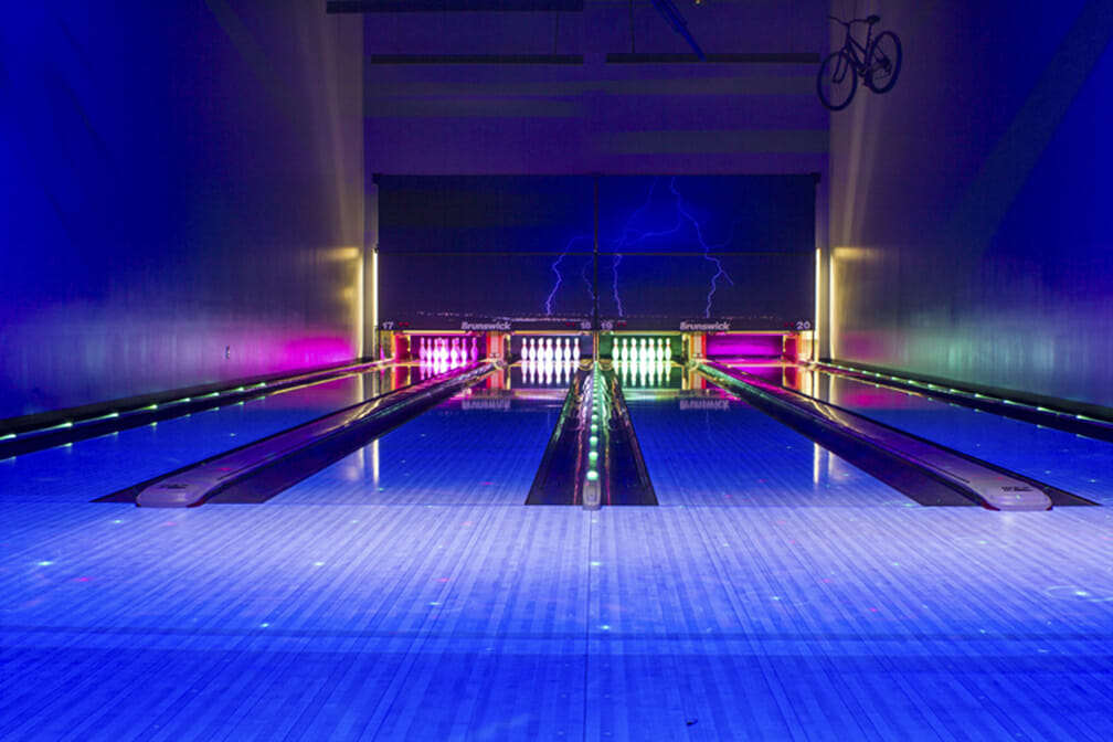 Private bowling lanes with blacklight