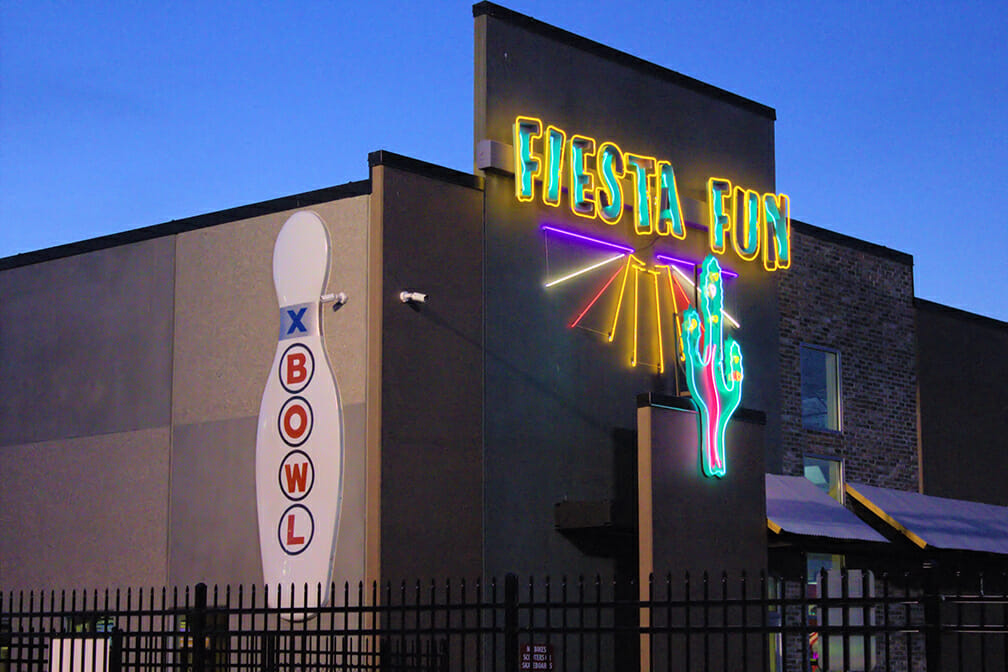 Entrance sign to Fiesta Fun Family Center Bowling