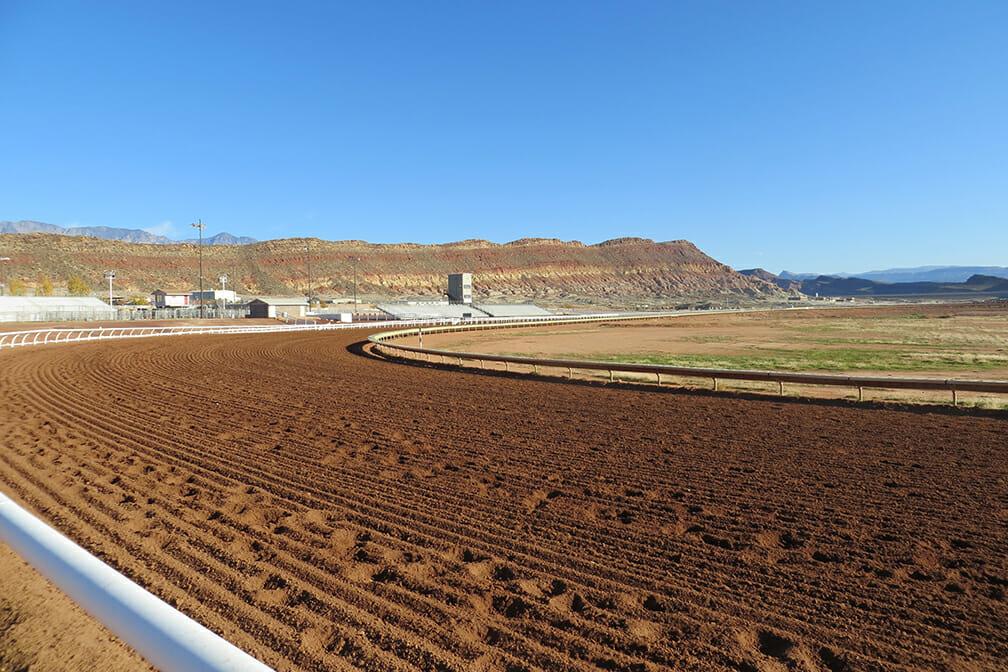 Outdoor equestrian racetrack