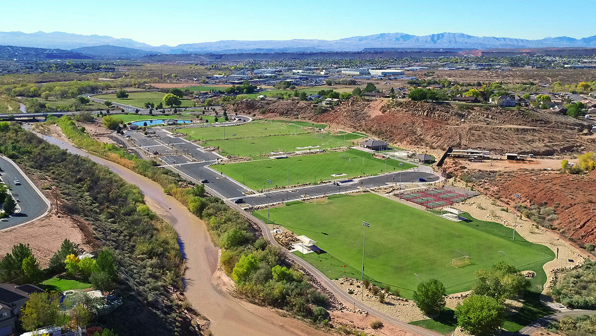 Aerial view of park with soccer fields