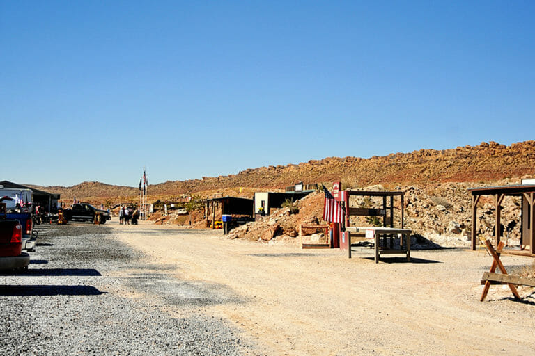 Wide view of western-themed shooting range