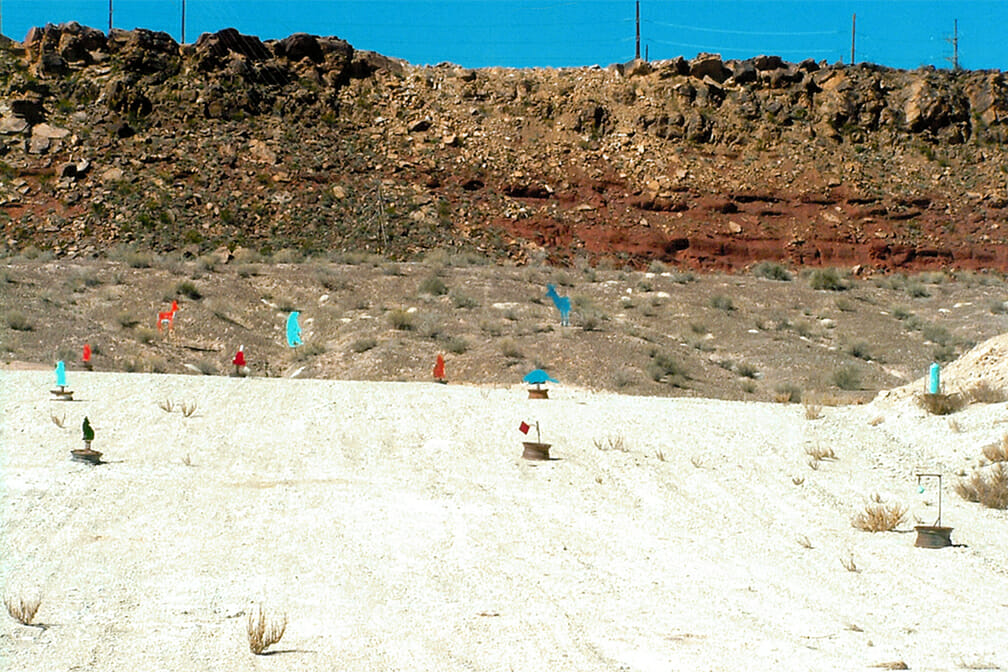 Colorful targets on desert shooting range