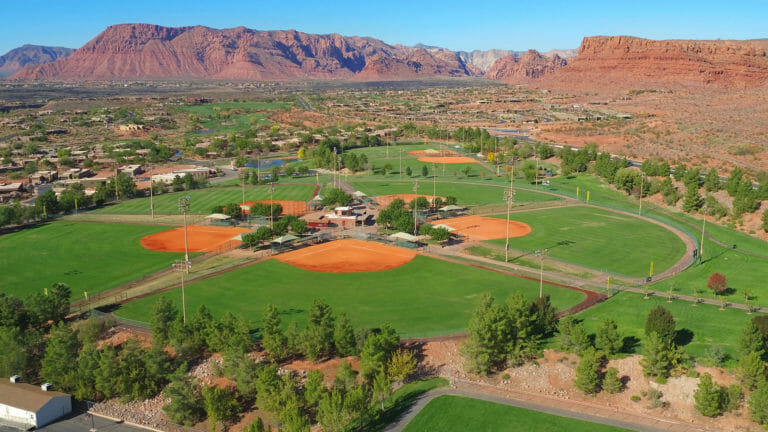 Aerial view of large complex of seven softball fields