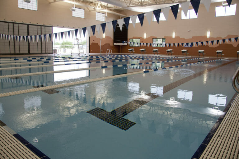 Close up view of pool with lanes