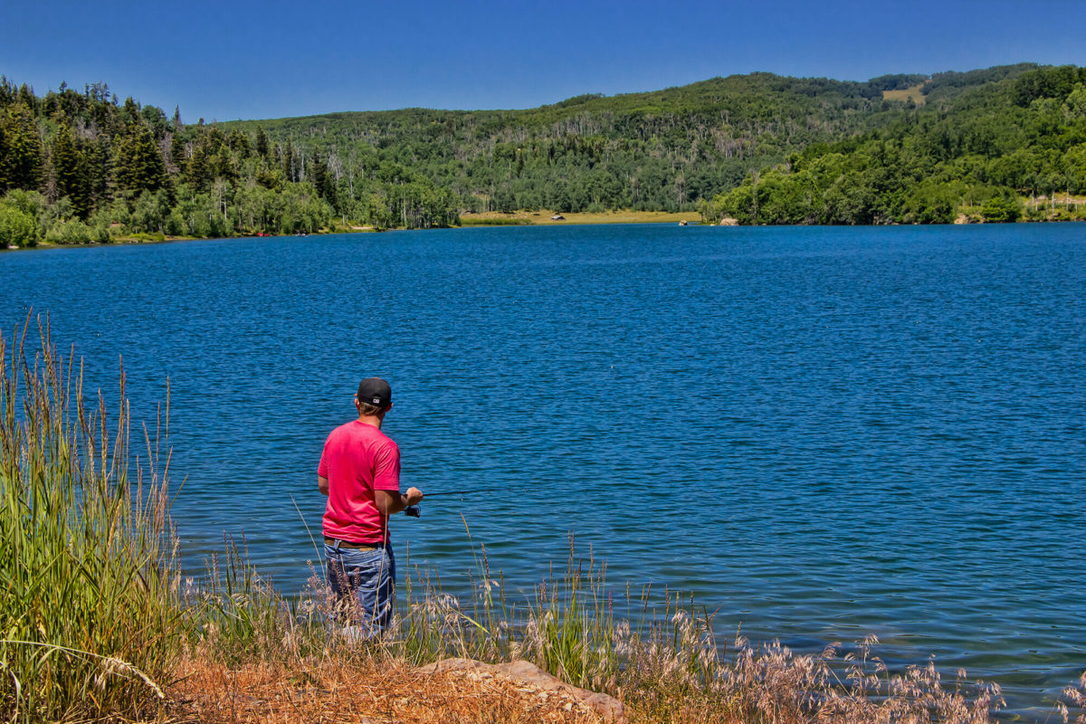 Man fishing in the Kolob Reservoir