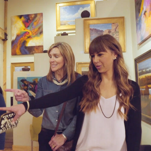 Three women in a St. George art gallery
