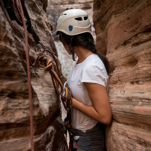 Woman canyoneering near Zion National Park