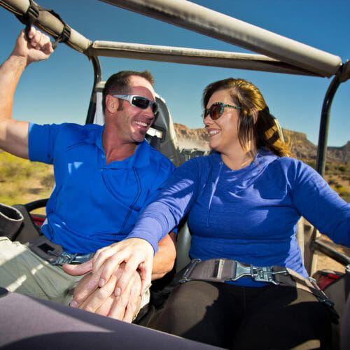 Couple on off-road Jeep tour
