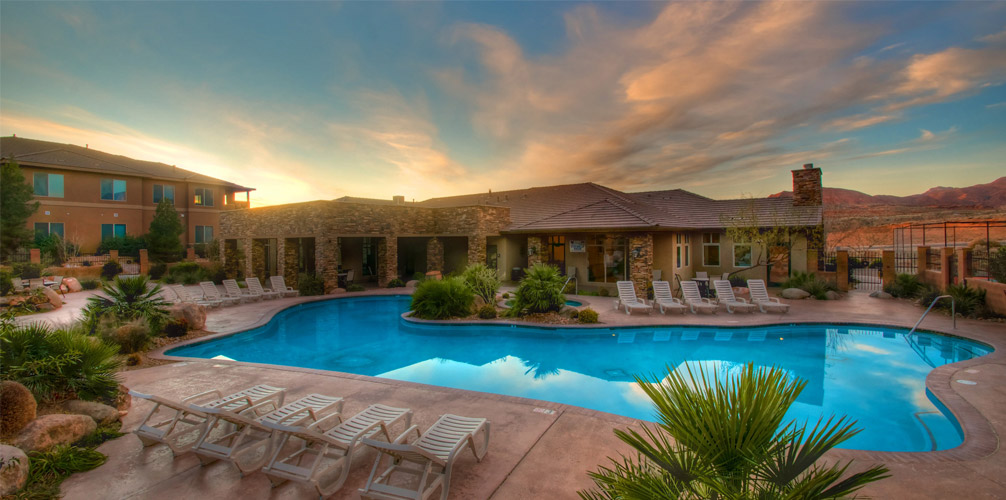 Outdoor Pool and Hot Tub at desert resort
