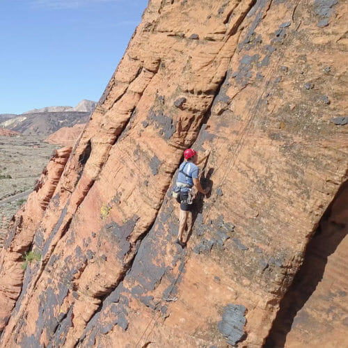 Rock climber at Snow Canyon State Park