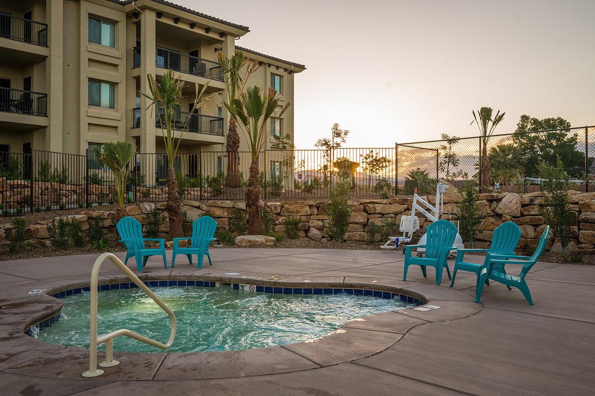 Outdoor hot tub at desert resort