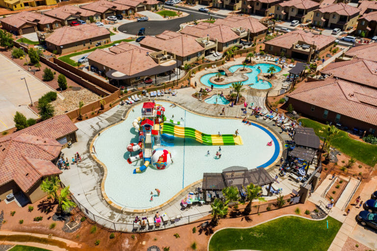 Aerial view of vacation rental complex with water park